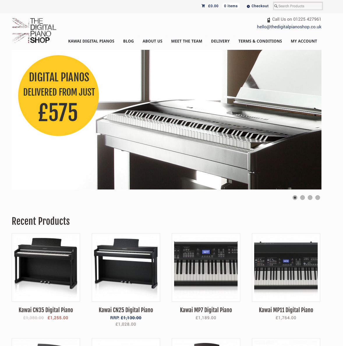 A screen shot of The Digital Piano Shop