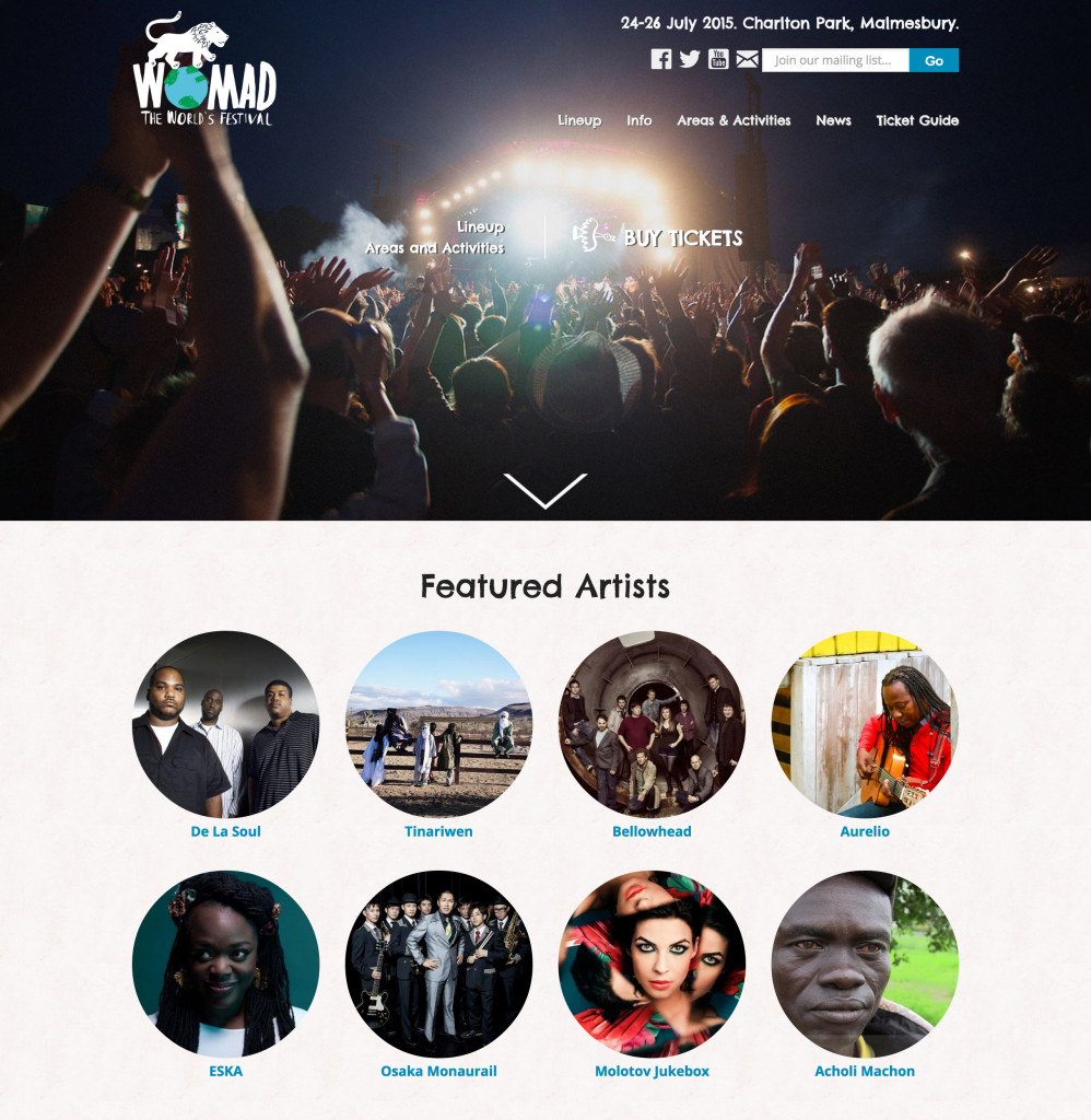 Womad Festival Front Page