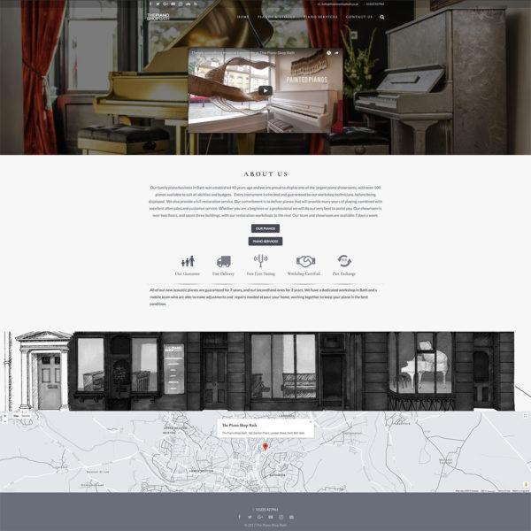 A screenshot of The Piano Shop Bath website